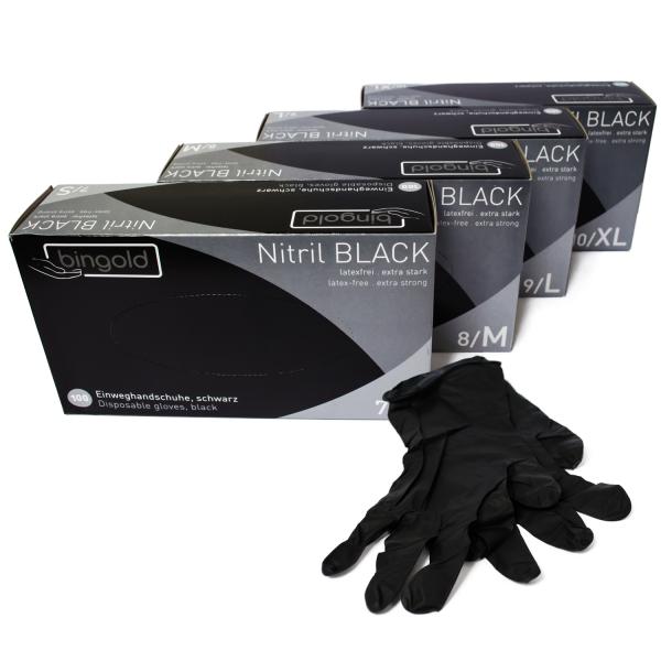 BINGOLD Einmalhandschuhe latexfrei Nitril Black, ungepudert
