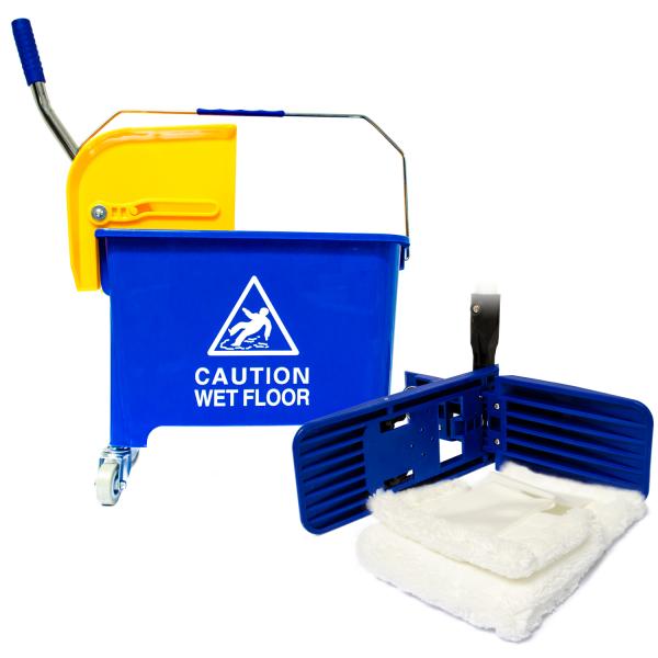 Bodenreinigungs-Komplett-Set, mit Doppelfahreimer und Mikrofasermopp
