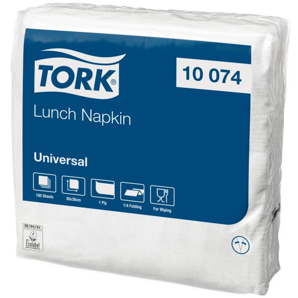 Tork 10074 Universal Servietten, 1-lagig, 30x30cm, weiß